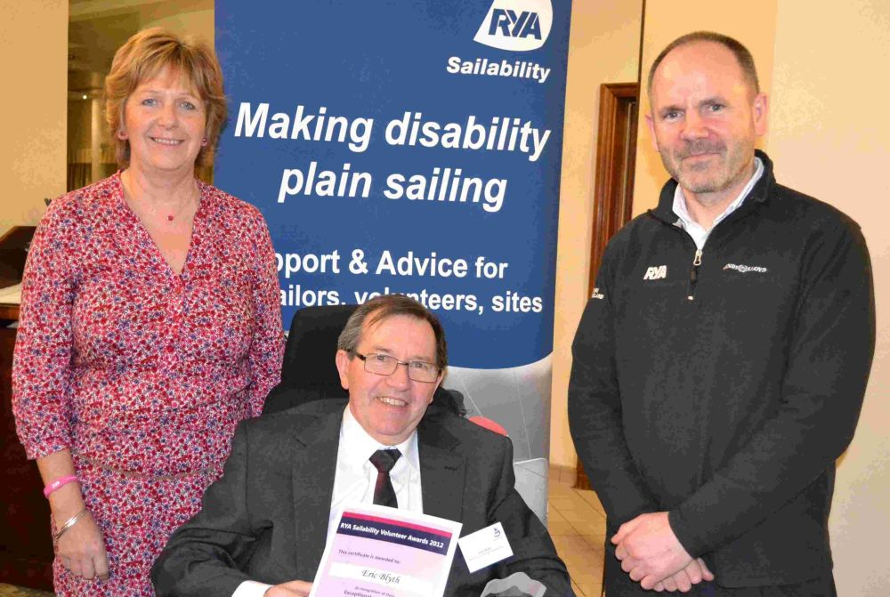 Debbie Blachford, the RYA Sailability CEO, Eric Blyth (in wheelchair), and Jon White the RYA sport development manager.