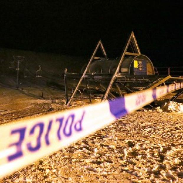 The ski lift with police tape around it at the Lecht ski centre near Tomintoul, Aberdeenshire after six people were injured