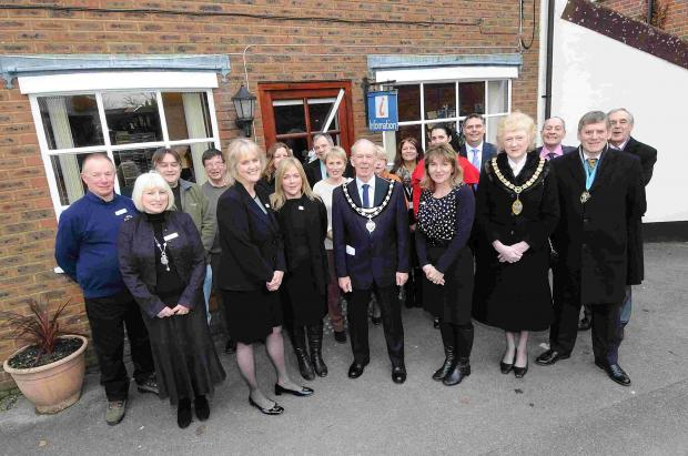 Mayor of Fordingbridge Malcolm Connolly opens the new New Forest District Council and Fordingbridge Town Council offices