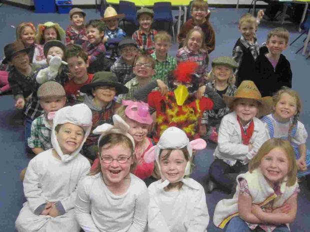 "Children in Sycamore Base at Verwood First School dres up as farm animals and farmers for a ""down on the farm day""."