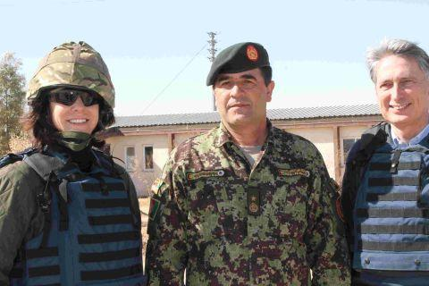 Claire Perry MP in Afghanistan with Brigadier General Sheren Shah, of the Afghan National Army, and Philip Hammond, Secretary of State for Defence