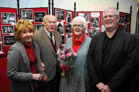 Prunella Scales,TimothyWest and Stephanie Cole with author Chris Abbott