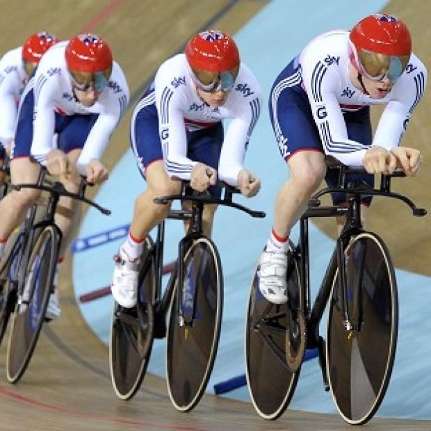 Ed Clancy leads Great Britain's team pursuit squad with Steve Burke, Sam Harrison and Andrew Tennant