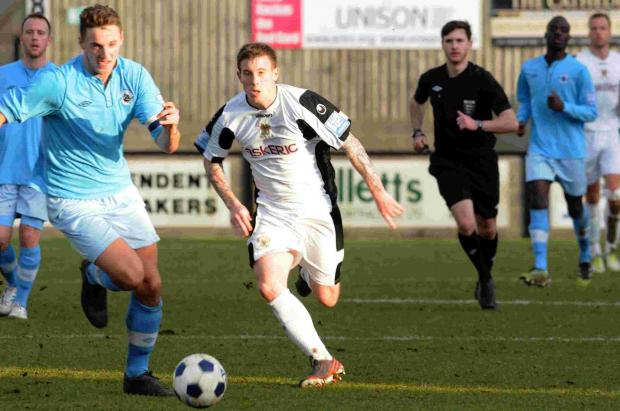 The league's top scorer, Jamie White, pictured, came closest to scoring for Salisbury on Wednesday evening.