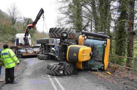 Tractor spills load in Enford