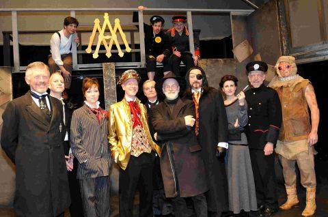 Sir Terry with the cast of Going Postal