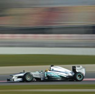 Lewis Hamilton recorded a lap time of one minute 20.558 seconds in Barcelona (AP)