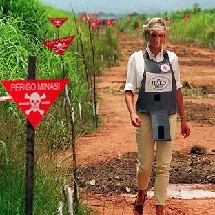 Diana, Princess of Wales was pictured wearing protective clothing during a visit to a minefield being cleared by the Halo Trust in Angola in 1997