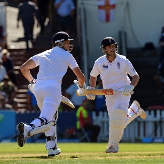 Jonathan Trott (right) and Nick Compton struck centuries to give England control