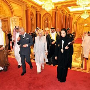 The Prince of Wales and the Duchess of Cornwall arrive to meet MPs at the Shura parliament building in Riyadh, the capital of Saudi Arabia