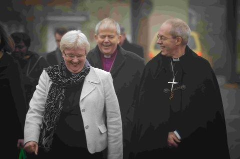 The Dean of Salisbury the Very Revd June Osborne, the Bishop of Salisbury the Right Revd Nicholas Holtam and the Archbishop of Canterbury the Most Revd Justin Welby, after morning worship at Salisbury Cathedral. Photo by Ash Mills