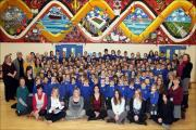 WELL DONE: Pupils and staff at Sinclair Primary and Nursery School