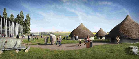 A computer image showing the outdoor gallery of the new Stonehenge visitor centre