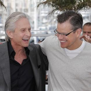 Michael Douglas and co-star Matt Damon in Cannes