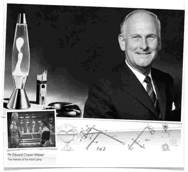 Edward Craven Walker with his invention the lava lamp
