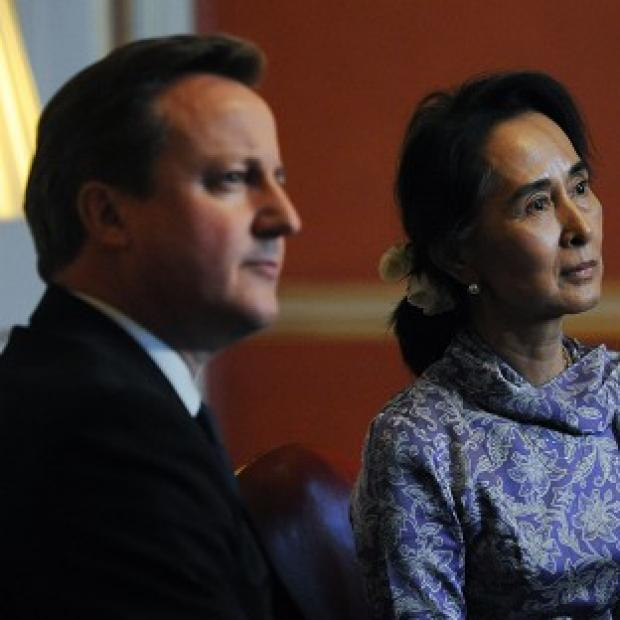 Salisbury Journal: Prime Minister David Cameron with Burmese opposition leader Aung San Suu Kyi at a meeting at 10 Downing Street