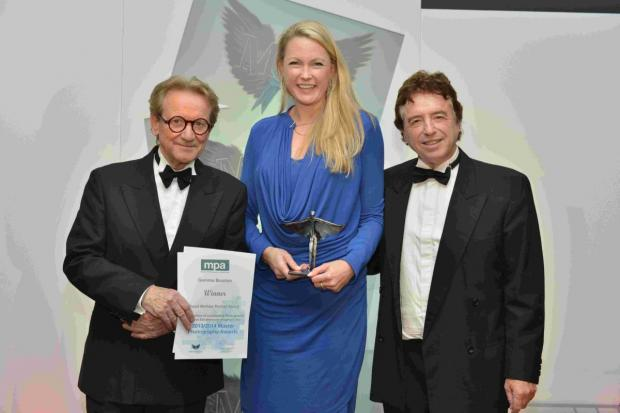 Gemma Brunton receives her award from John Swannell and Roy Meiklejon