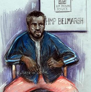 Court artist sketch by Elizabeth Cook of Nicholas Jacobs appearing at the Old Bailey in London in July, via video-link from Belmarsh prison, where he is charged with the murder of Pc Keith Blakelock during the Broadwater Farm riots in 1985.