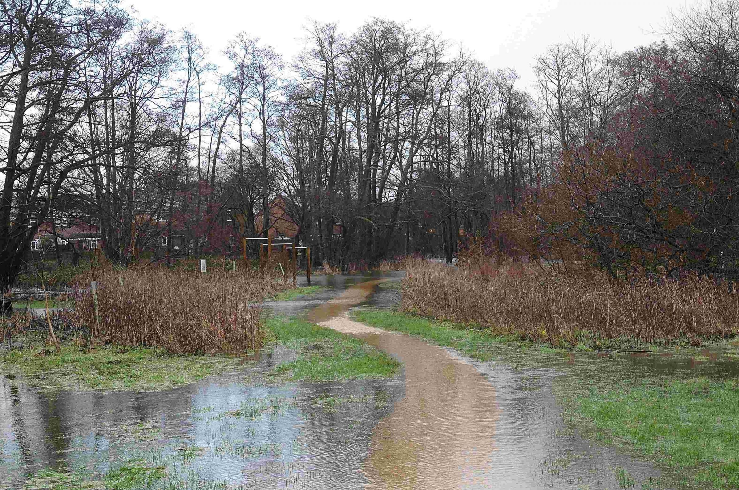 Flooding at Potterne Park in Verwood