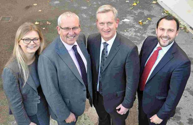 New partners Lauren Day, Tim Sharpley (second right) and William Fox Bregman with managing partner Nigel Smith, second left
