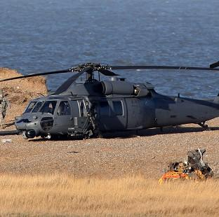 Salisbury Journal: The wreckage of the US Air Force HH-60G Pave Hawk helicopter that crashed during a training exercise in Norfolk, killing four crew members. .