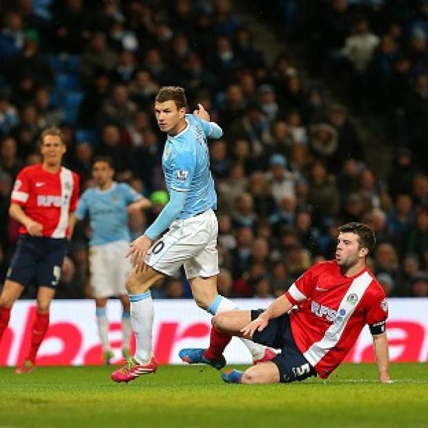 Salisbury Journal: Edin Dzeko scores Man City's fifth goal of the game and 99th of the season