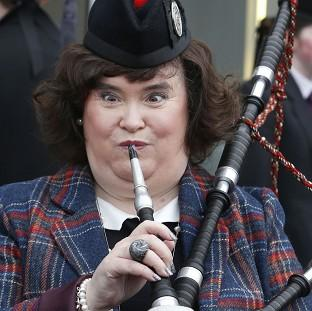 Susan Boyle tries out the ba