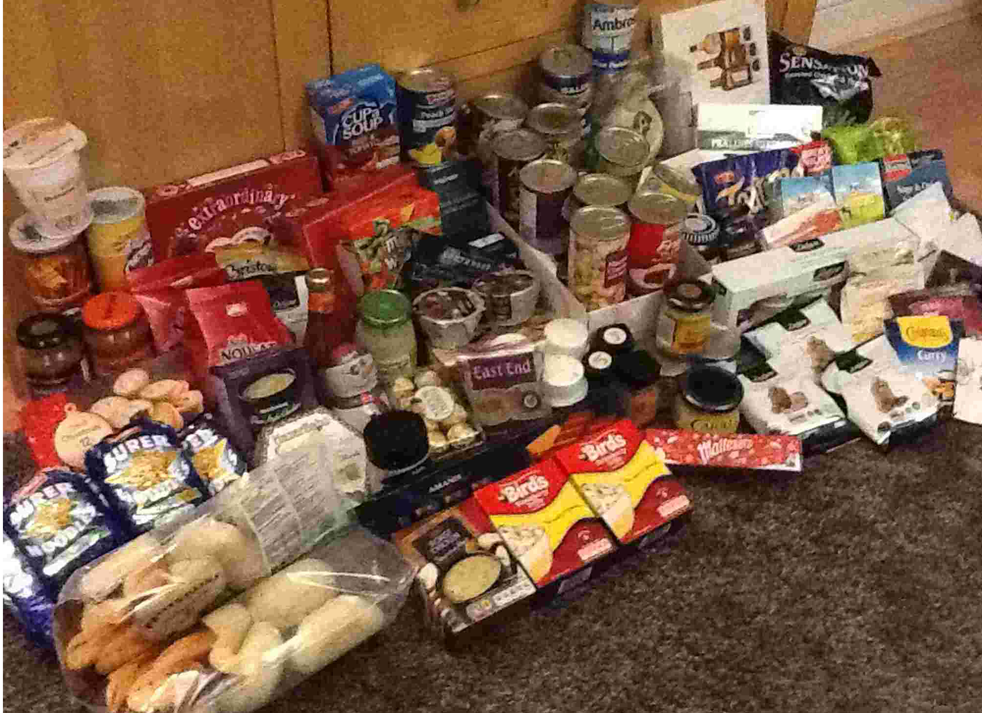 The food collected by the Harnham Slimming World group.
