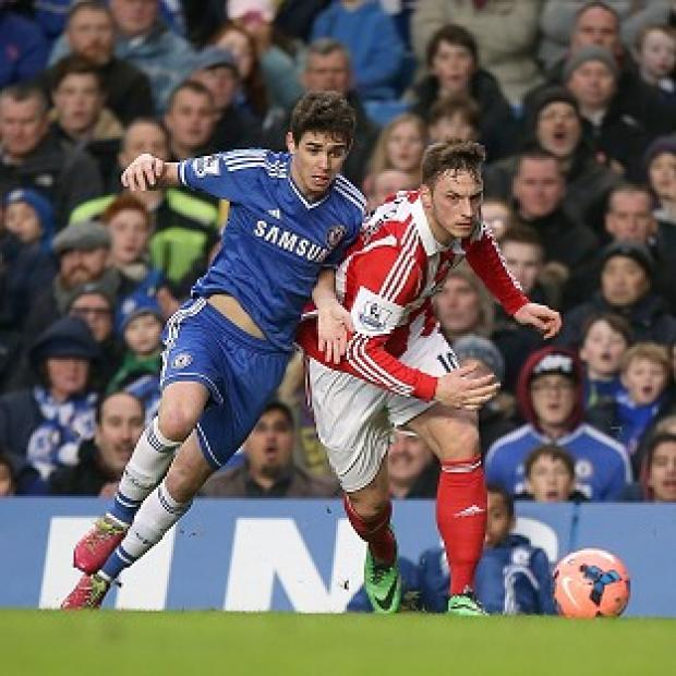 Salisbury Journal: Oscar, left, scored against Stoke to see Chelsea through to the FA Cup fifth round