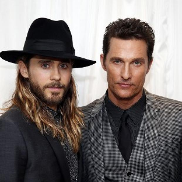 Salisbury Journal: Matthew McConaughey (right) arrives with Jared Leto at the Washington Hotel, London, for the UK premiere of Dallas Buyers Club