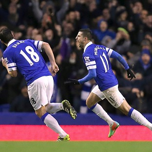 Kevin Mirallas, right, won the game for Everton
