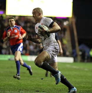 Mike Brown scored England's second try against Scotland
