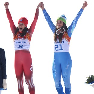 Dominique Gisin, left, and Tina Maze, right both claimed gold in the women's downhill