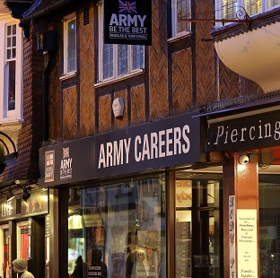 The Army Careers office in Canterbury, Kent, one of the armed forces recruitment offices where suspected explosive devices were found