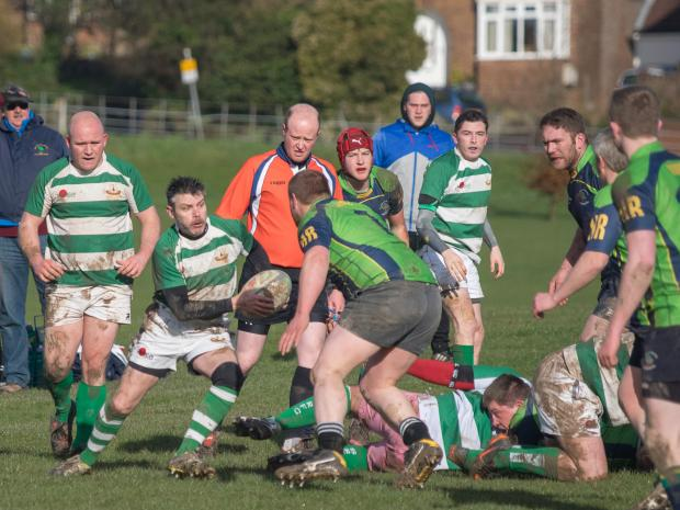 Scrum-half Del Gurney breaks from a ruck during Salisbury 3rds win over New Milton