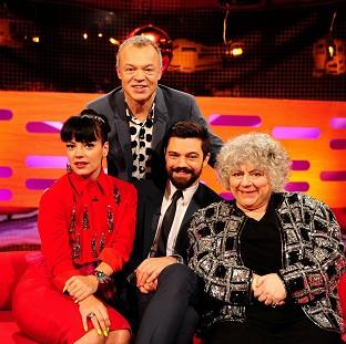 Salisbury Journal: Presenter Graham Norton, back, with - from left - Lily Allen, Dominic Cooper and Miriam Margolyes