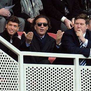 Massimo Cellino, centre, watching Leeds' goalless draw at Middlesbrough