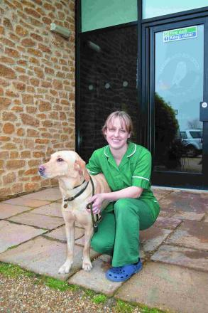 Veterinary nurse Hayley Parr with Lottie the dog