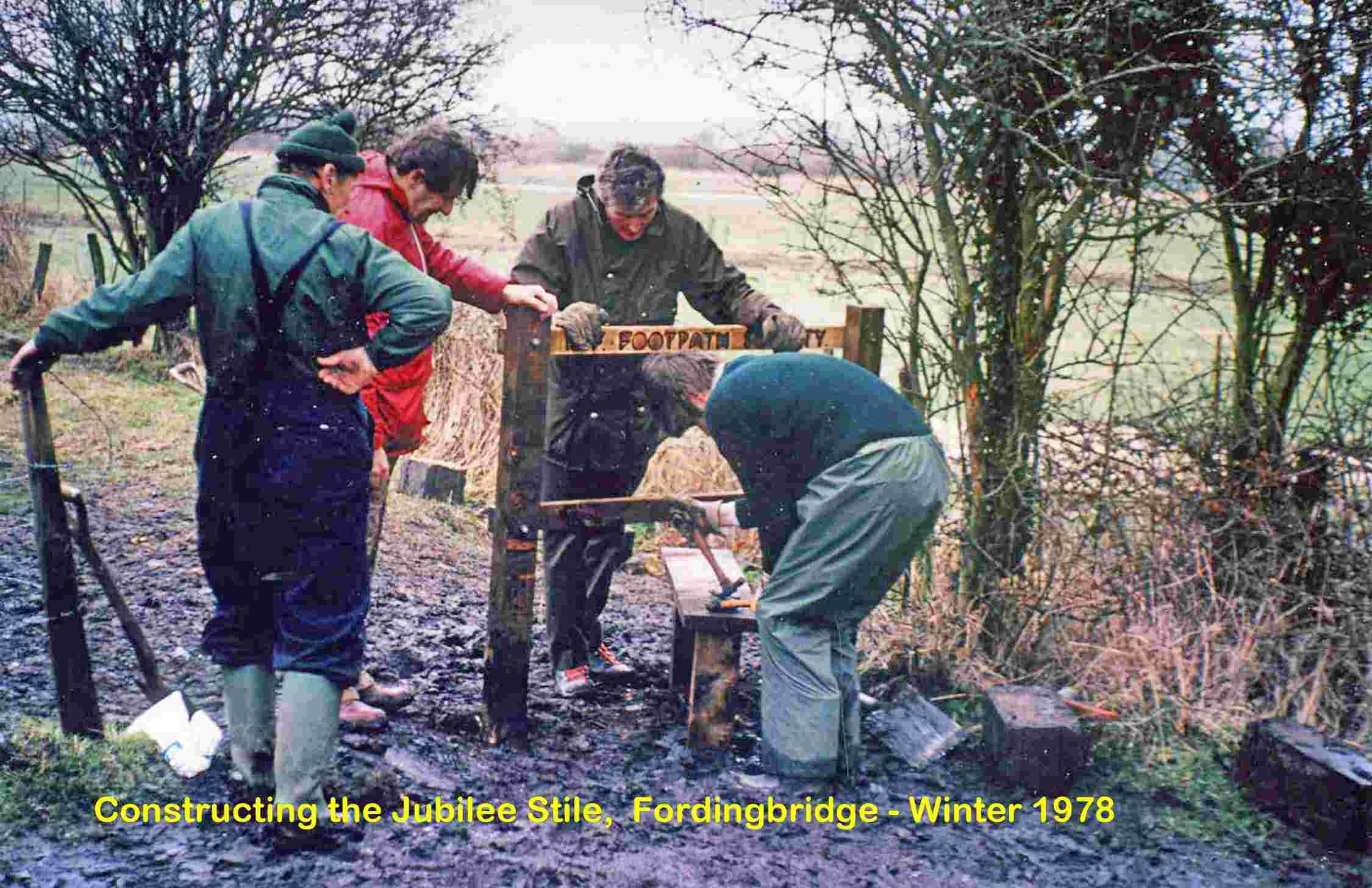 Constructing the Jubilee stile in Fordingbridge in 1978. Lots more pictures in the Journal
