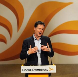 Nick Clegg speaks during the Liberal Democrat Spring Conference at the Barbican Centre, Y