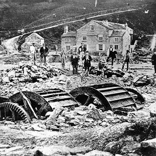 Damage at Rowell Bridge Wheel in Loxley following the Great Sheffield Flood in 1884 (Sheffield City Council/PA Wire)