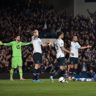 Spurs are set to appeal the sending off of Younes Kaboul, second right, against Chelsea