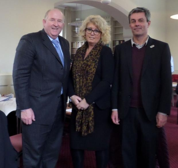 Police and Crime Commissioner for Wiltshire and Swindon Angus Macpherson with Victims' Commissioner Baroness Newlove and Victim Support Divisional Manager for Gloucestershire and Wiltshire Wayne Stevens at the Victims Forum.