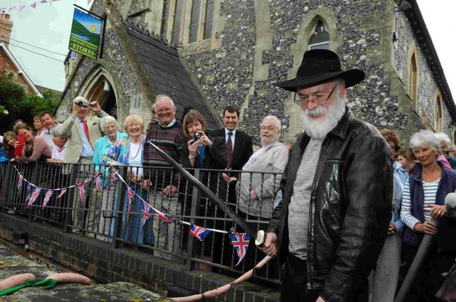 Sir Terry Pratchett officially opened the Chalke Valley Stores