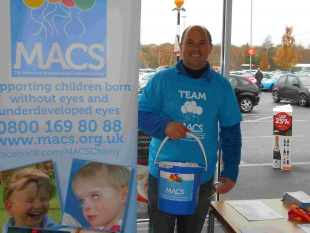 Chris Archibold collects for the MACS charity