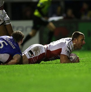 Blake Green goes over for Wigan's second try