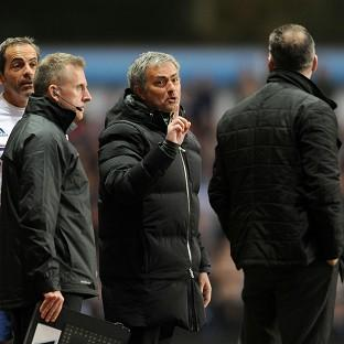 Jose Mourinho, centre, was sent off during Chelsea's defeat at Aston Villa last Saturday