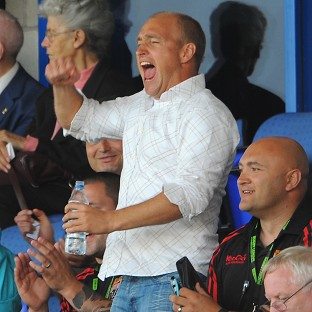 Nathan Brown, centre, was delighted after St Helens recovered to beat Wakefield