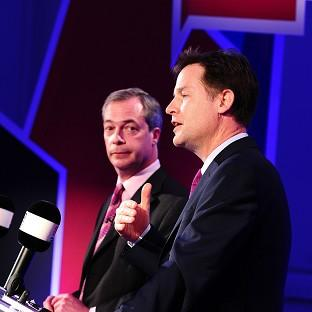 Salisbury Journal: Deputy Prime Minister Nick Clegg, right, and Ukip leader Nigel Farage debate Britain's future in the European Union