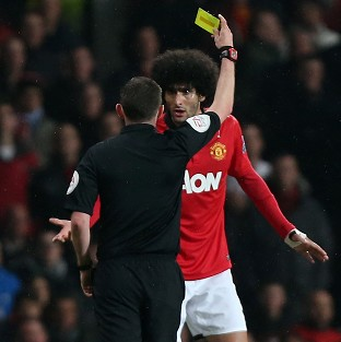 Footage on YouTube emerged which appeared to show Marouane Fellaini, right, spitting near to Pablo Zabaleta's head